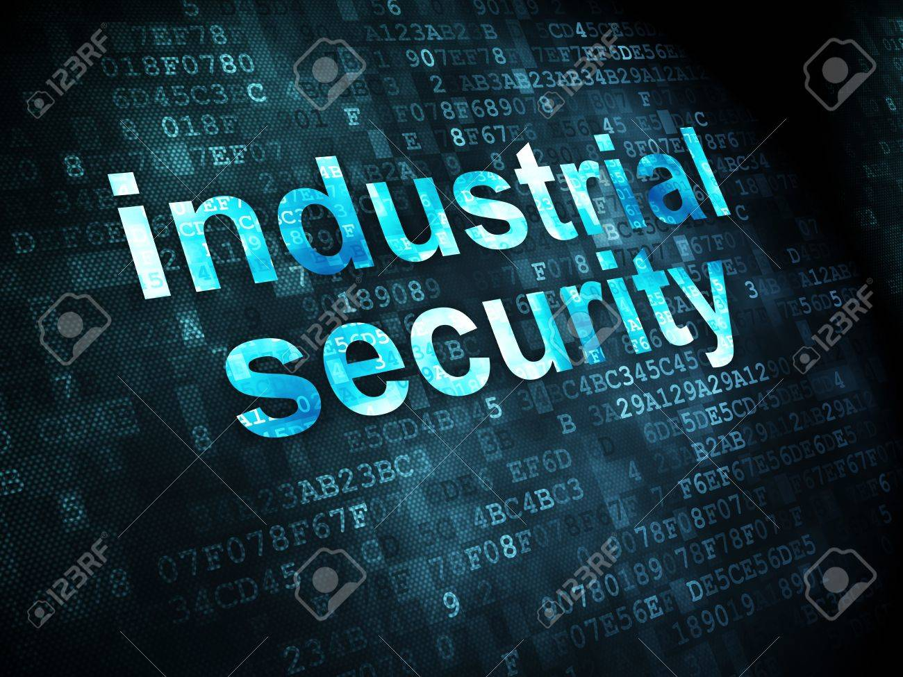 Privacy concept: pixelated words Industrial Security on digital background, 3d render Stock Photo - 21444860