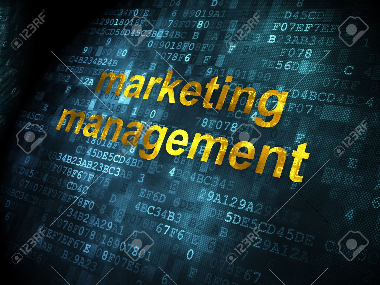 Advertising Concept Pixelated Words Marketing Management On Stock