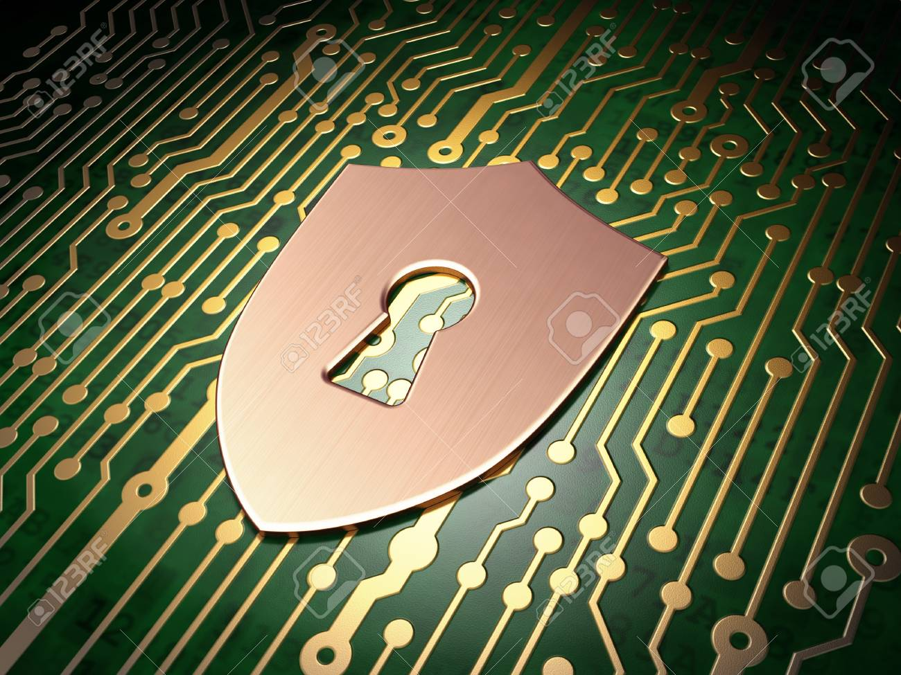 Privacy concept: circuit board with Shield With Keyhole icon, 3d render Stock Photo - 21515112