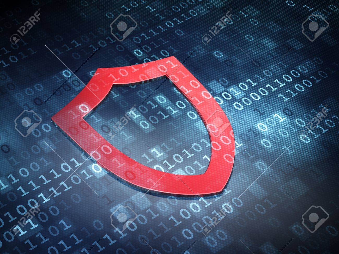 Security concept: Red Contoured Shield on digital background, 3d render Stock Photo - 21780445