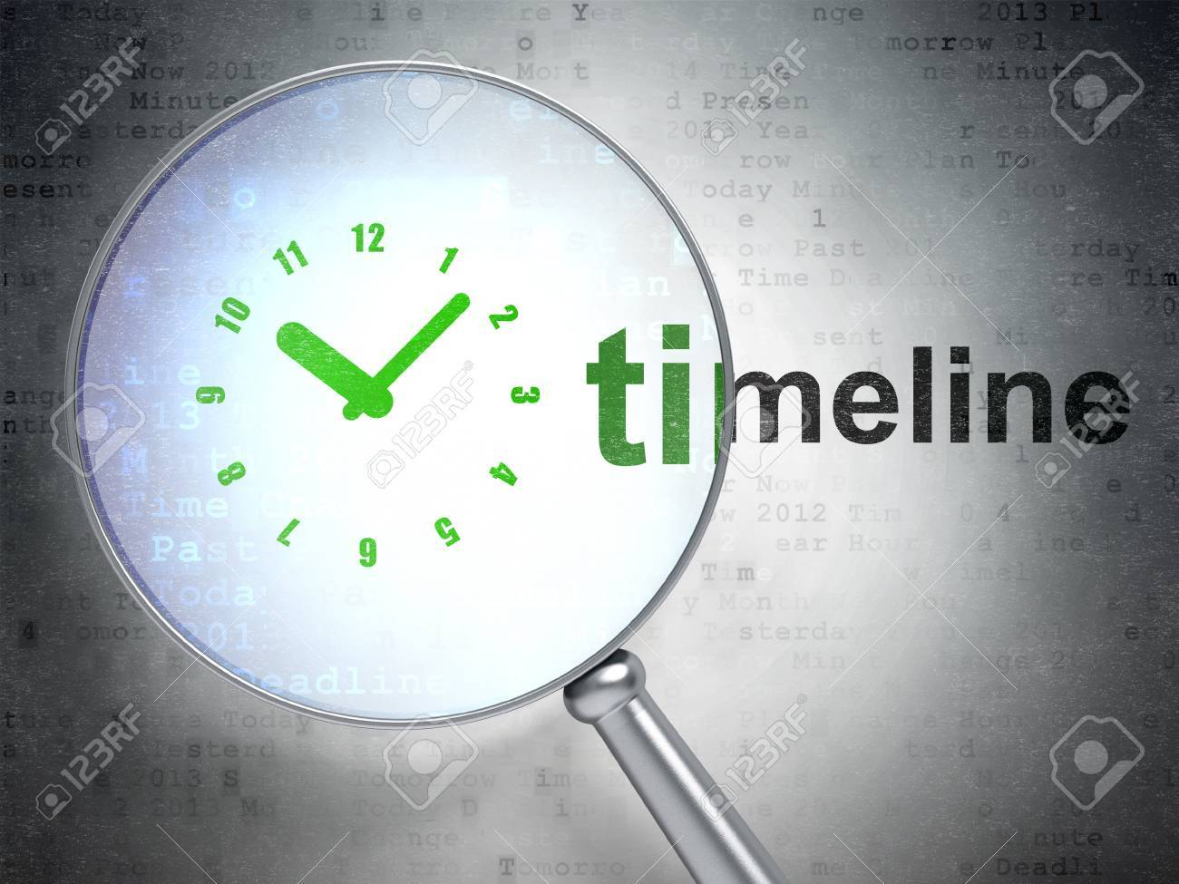 Icono Cronograma Óptica Fondo Del Y El Digital3d TiempoLupa Sobre Con Reloj Concepto De Palabra XZiTPkuO
