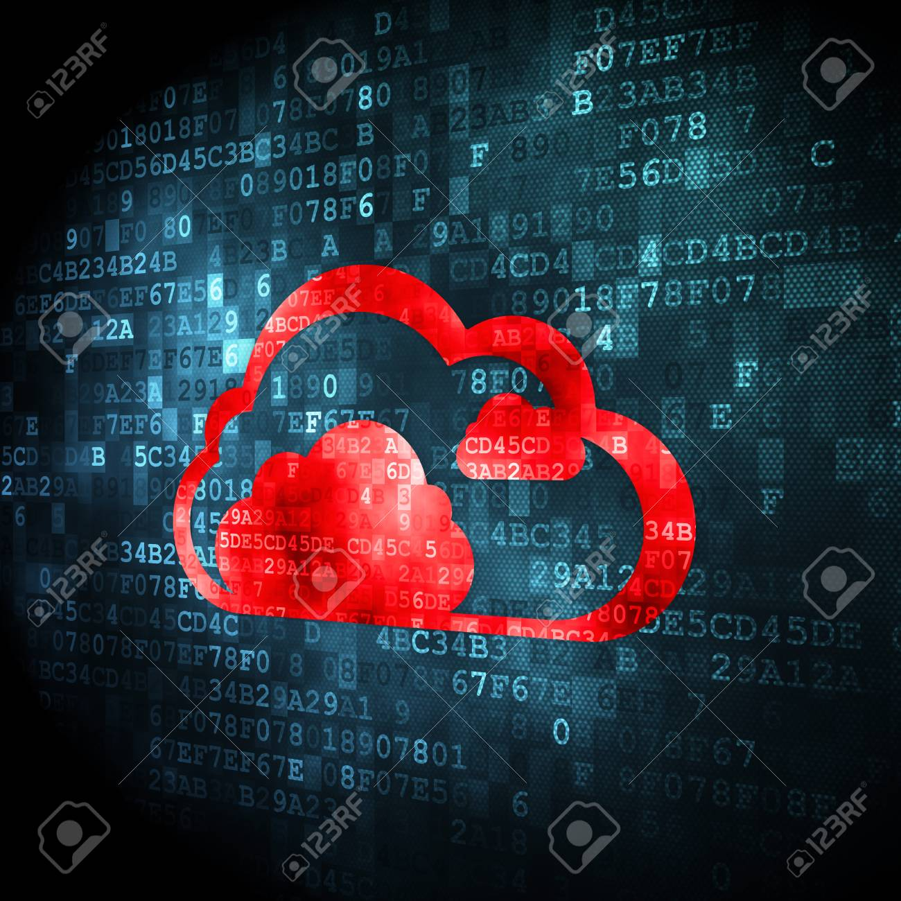 Cloud computing concept: pixelated Cloud icon on digital background, 3d render Stock Photo - 22344512