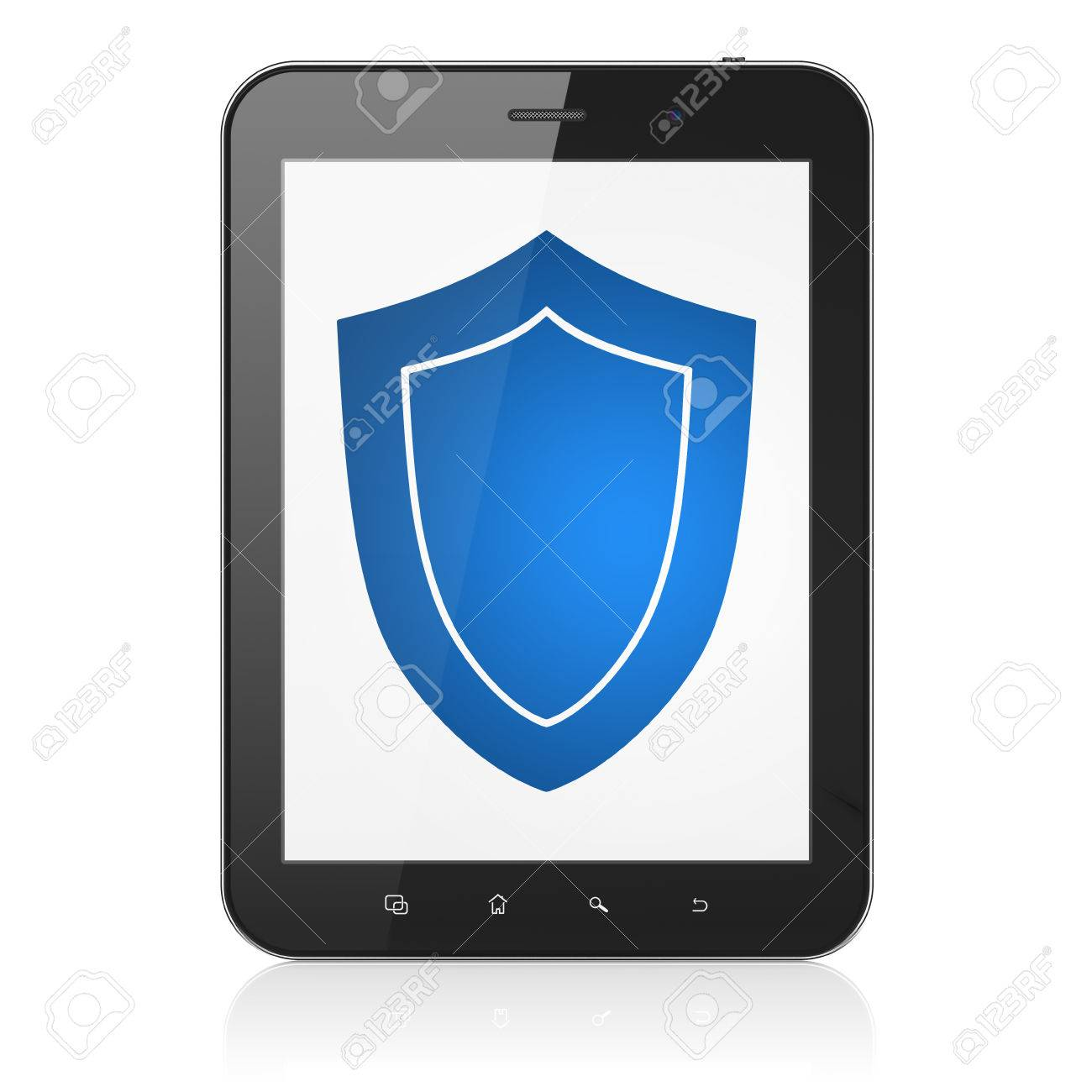 Privacy concept: black tablet pc computer with Shield icon on display. Modern portable touch pad isolated on White , 3d render Stock Photo - 22571923