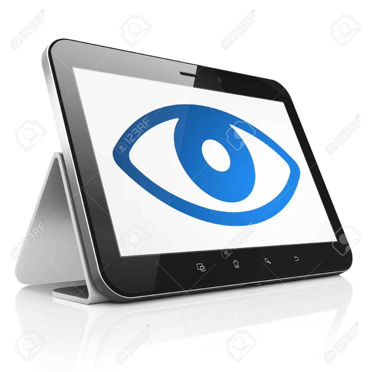 Security concept: black tablet pc computer with Eye icon on display. Modern portable touch pad on White background, 3d render Stock Photo - 23349961