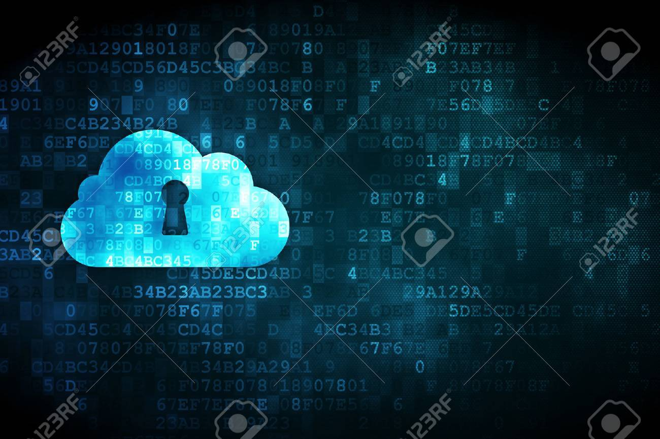 Cloud networking concept: pixelated Cloud With Keyhole icon on digital background, empty copyspace for card, text, advertising, 3d render - 23534904