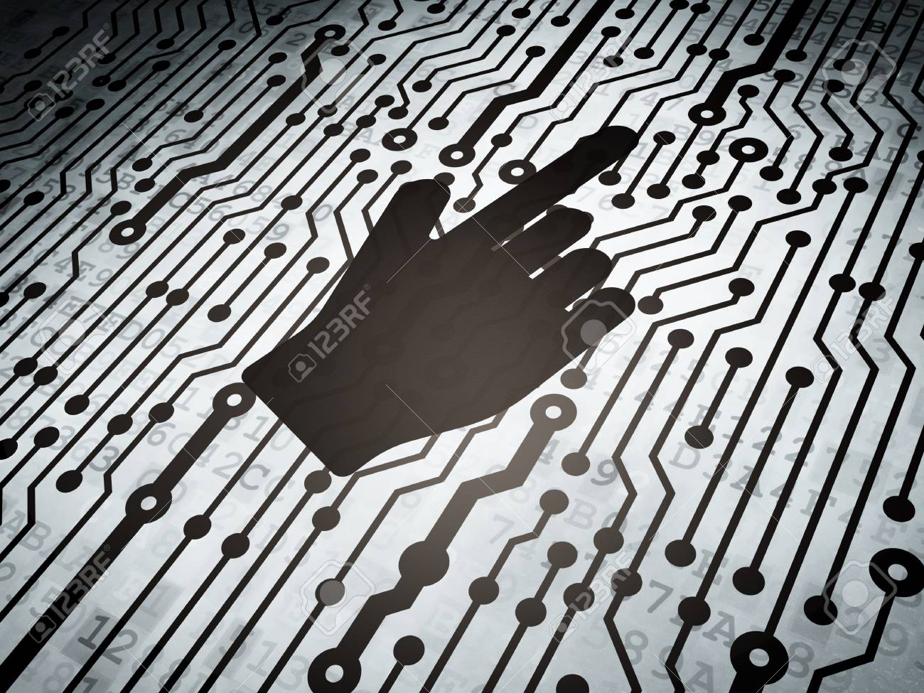 Marketing Concept Circuit Board With Mouse Cursor Icon 3d Stock Render Photo 23566638