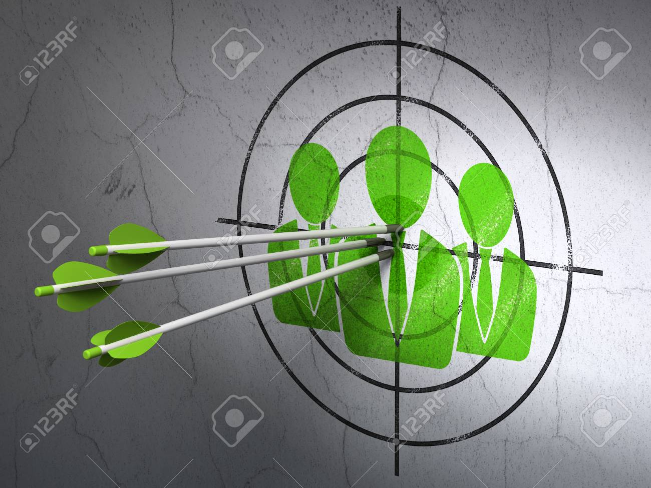 Success news concept: arrows hitting the center of Green Business People target on wall background, 3d render Stock Photo - 24059048