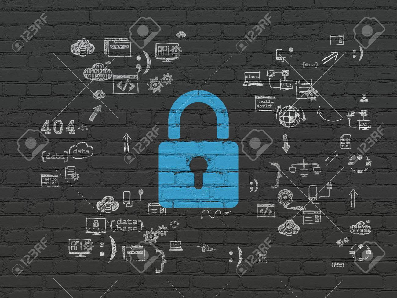 Datenschutzkonzept: Blau Bemalt Geschlossenes Vorhängeschloß-Symbol ...