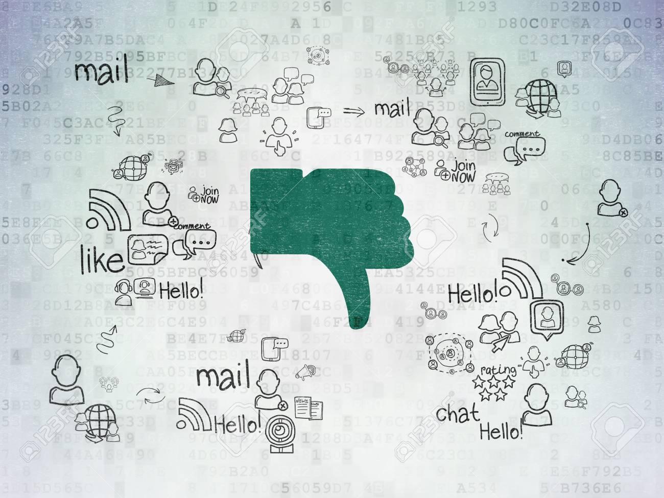Social Network Concept: Painted Pollice Giù Icona Verde Su Sfondo Di ...