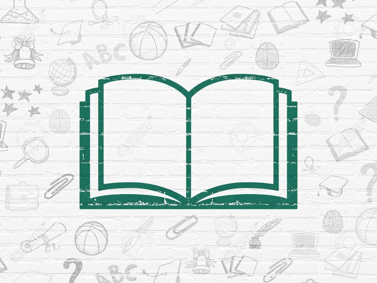 Education Concept Peint En Vert Icone Du Livre Blanc Sur Le Mur De Briques De Fond Avec Des Icones Education Tire Par La Main De Rendu 3d