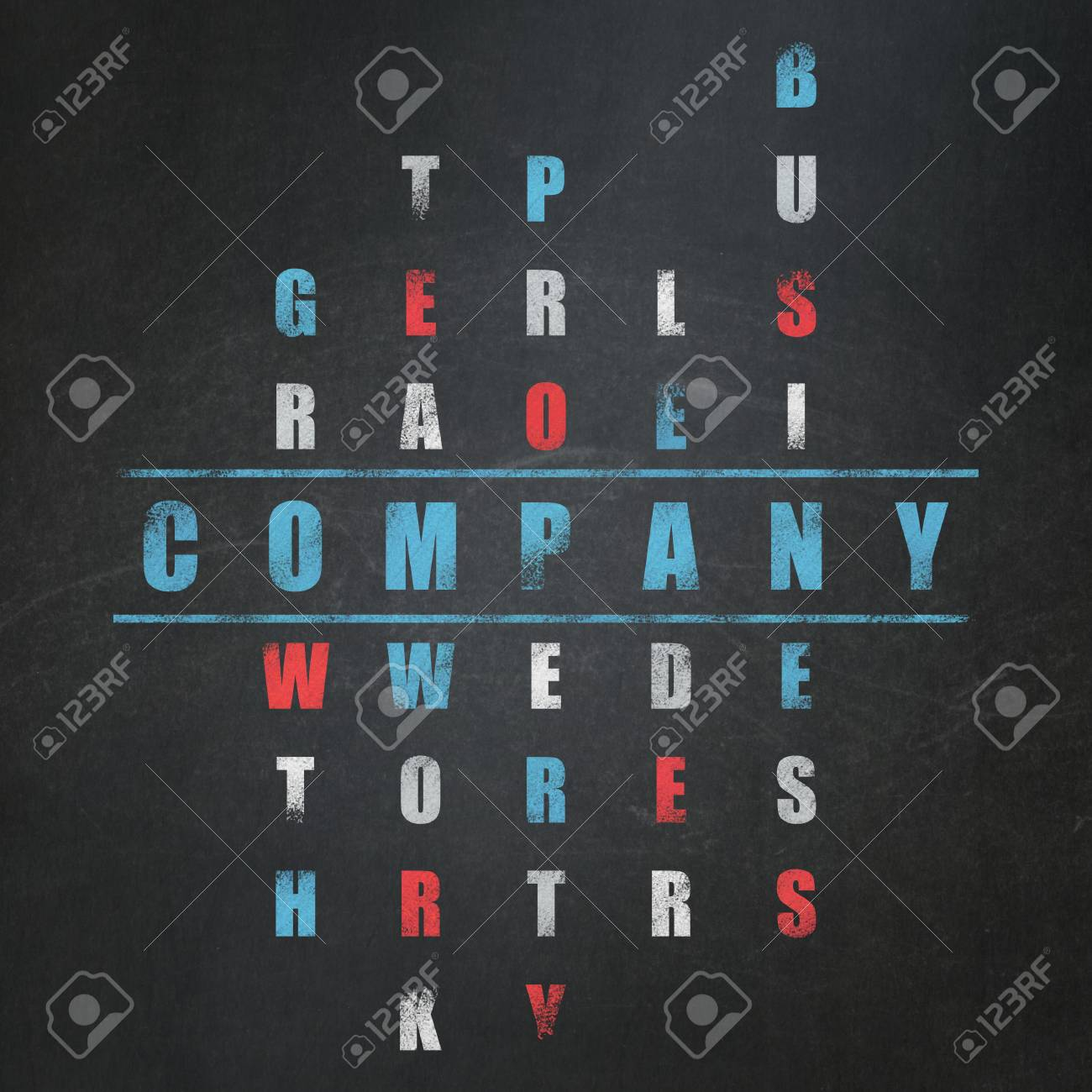 Business concept: Painted blue word Company in solving Crossword
