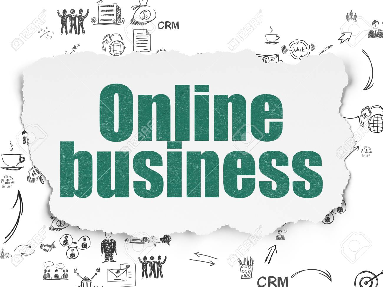 Finance Concept: Painted Green Text Online Business On Torn Paper ...