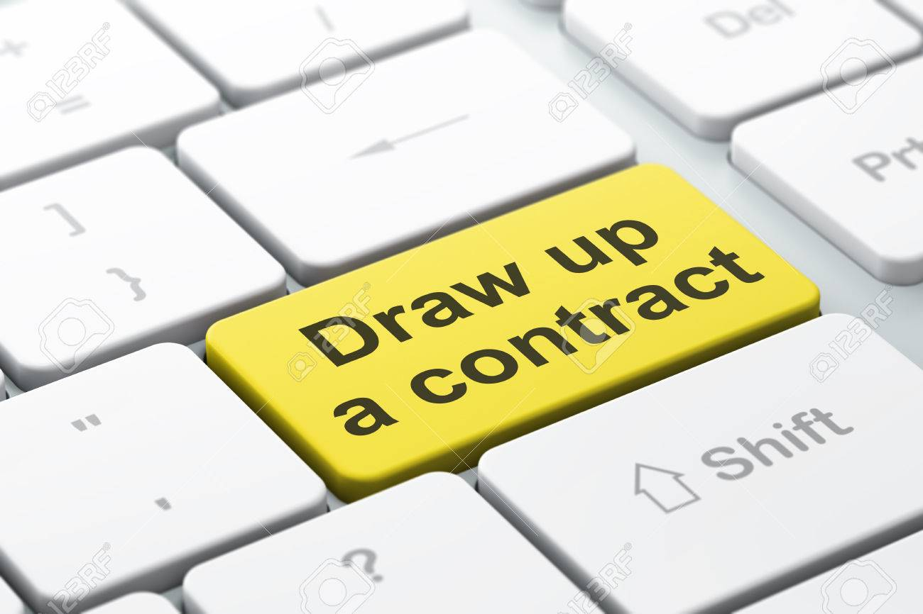 Law concept: computer keyboard with word Draw up A contract,