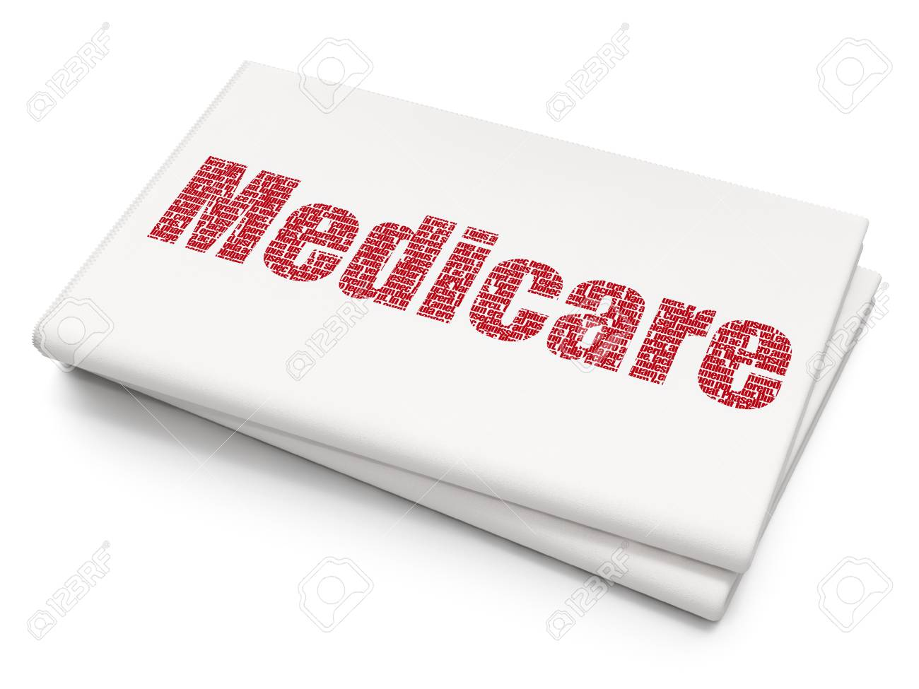 Medicine Concept Pixelated Red Text Medicare On Blank Newspaper