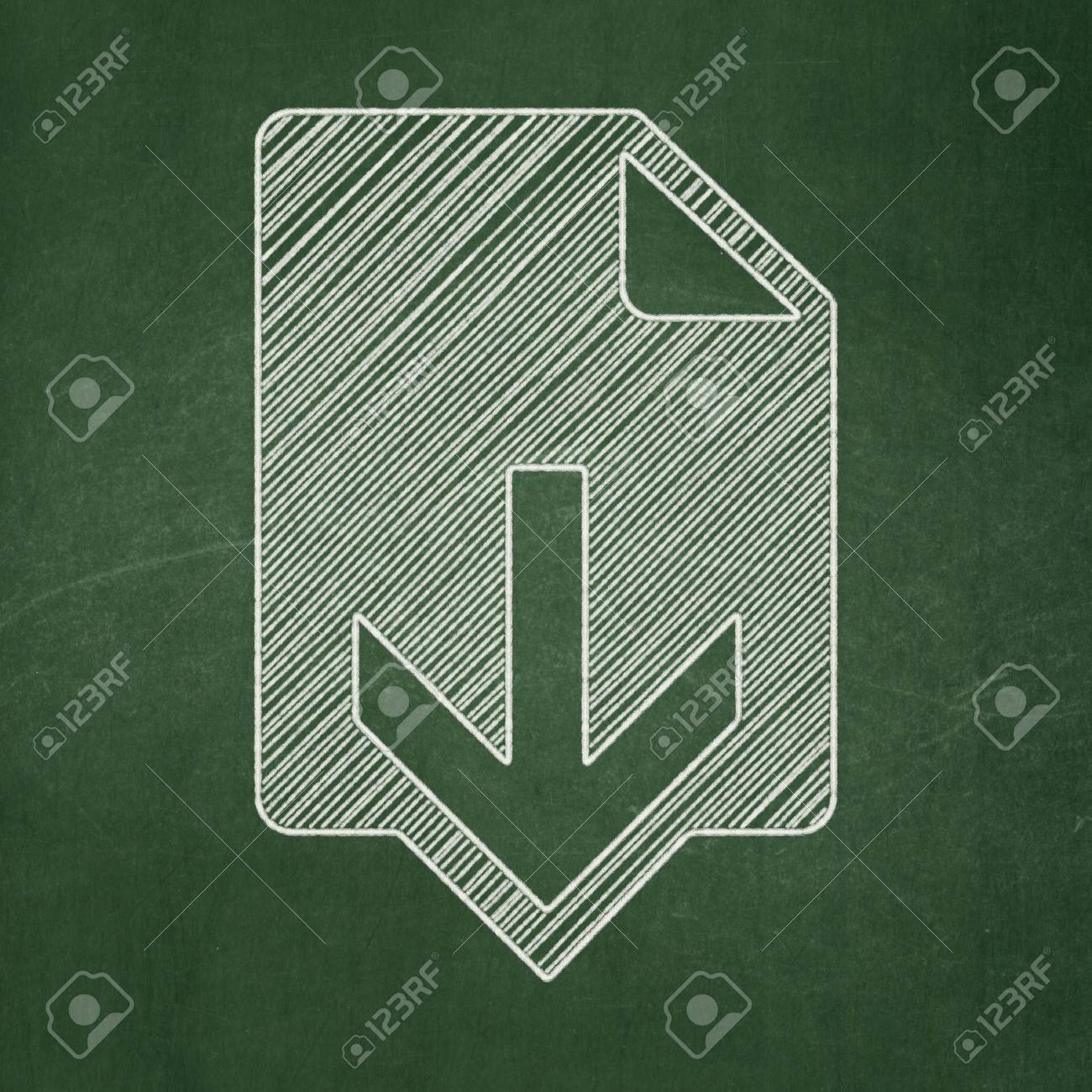 web development concept download icon on green chalkboard