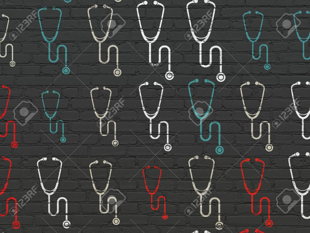 Medicine concept: Painted multicolor Stethoscope icons on Black