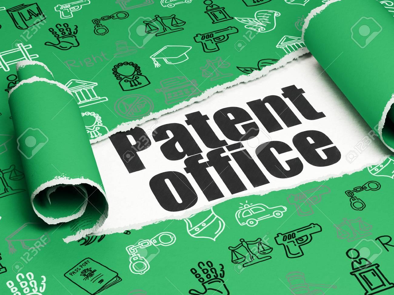 Notion de droit bureau de brevet de texte noir sous la pièce