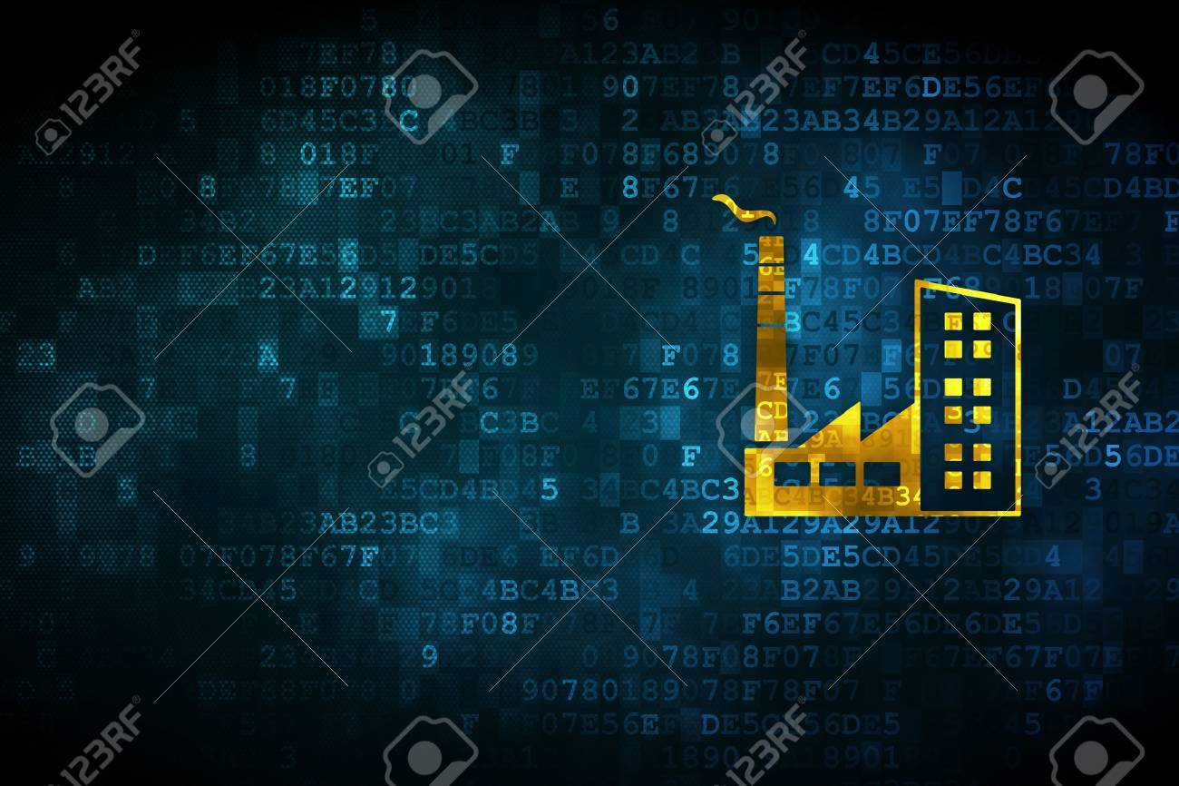 Industry concept pixelated industry building icon on digital industry concept pixelated industry building icon on digital background empty copyspace for card biocorpaavc