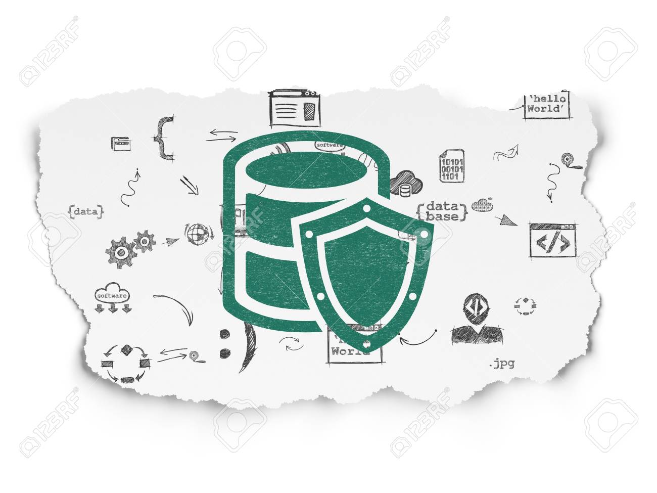 Database Concept: Painted Green Database With Shield Icon On.. Stock ...