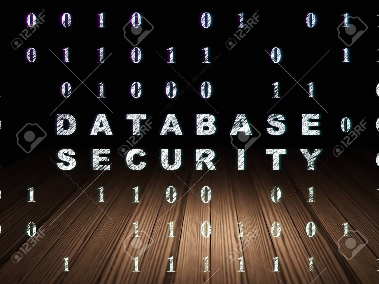 Programmierkonzept Glhender Text Database Security Im Grunge And Dunklen Raum Mit Holzboden Schwarzer Hintergrund