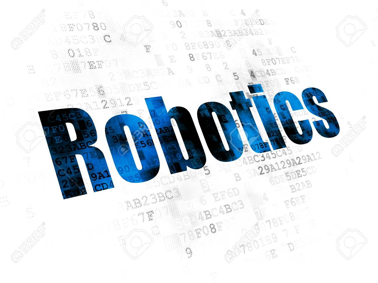 Science Concept Pixelated Blue Text Robotics On Digital Background