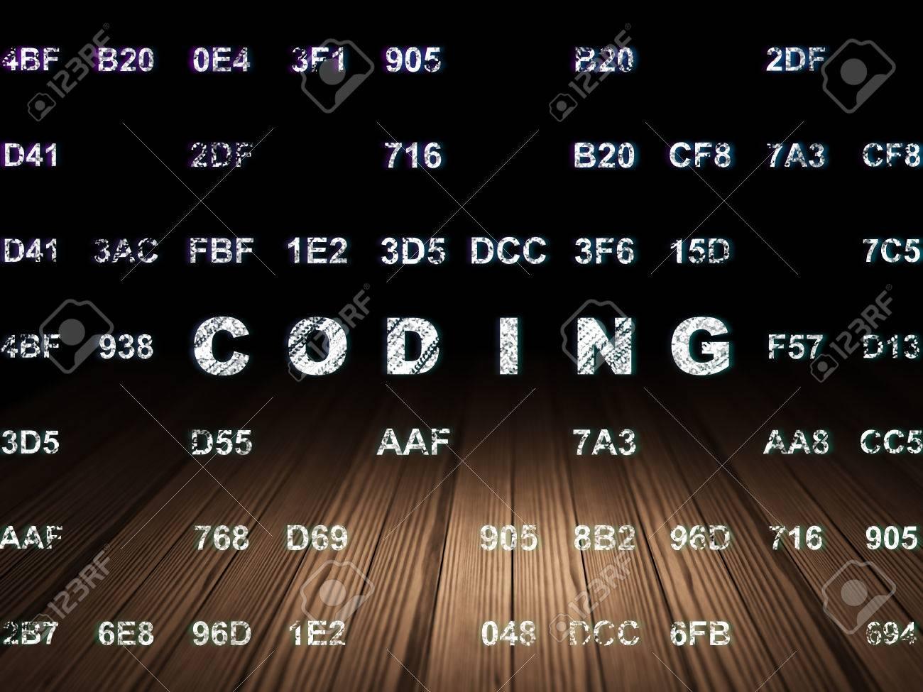 Concepto De Programación: Texto Que Brilla Intensamente Codificación ...