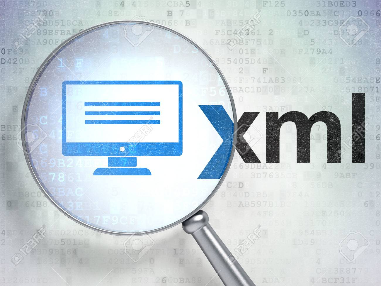 Background image xml - Database Concept Magnifying Optical Glass With Monitor Icon And Xml Word On Digital Background Stock