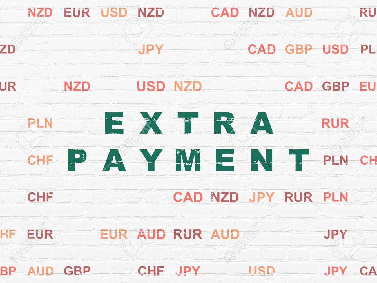 currency concept painted green text extra payment on white brick