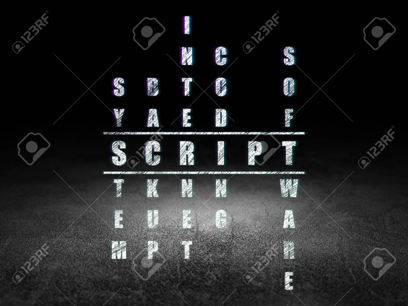 Software Concept Glowing Word Script In Solving Crossword Puzzle