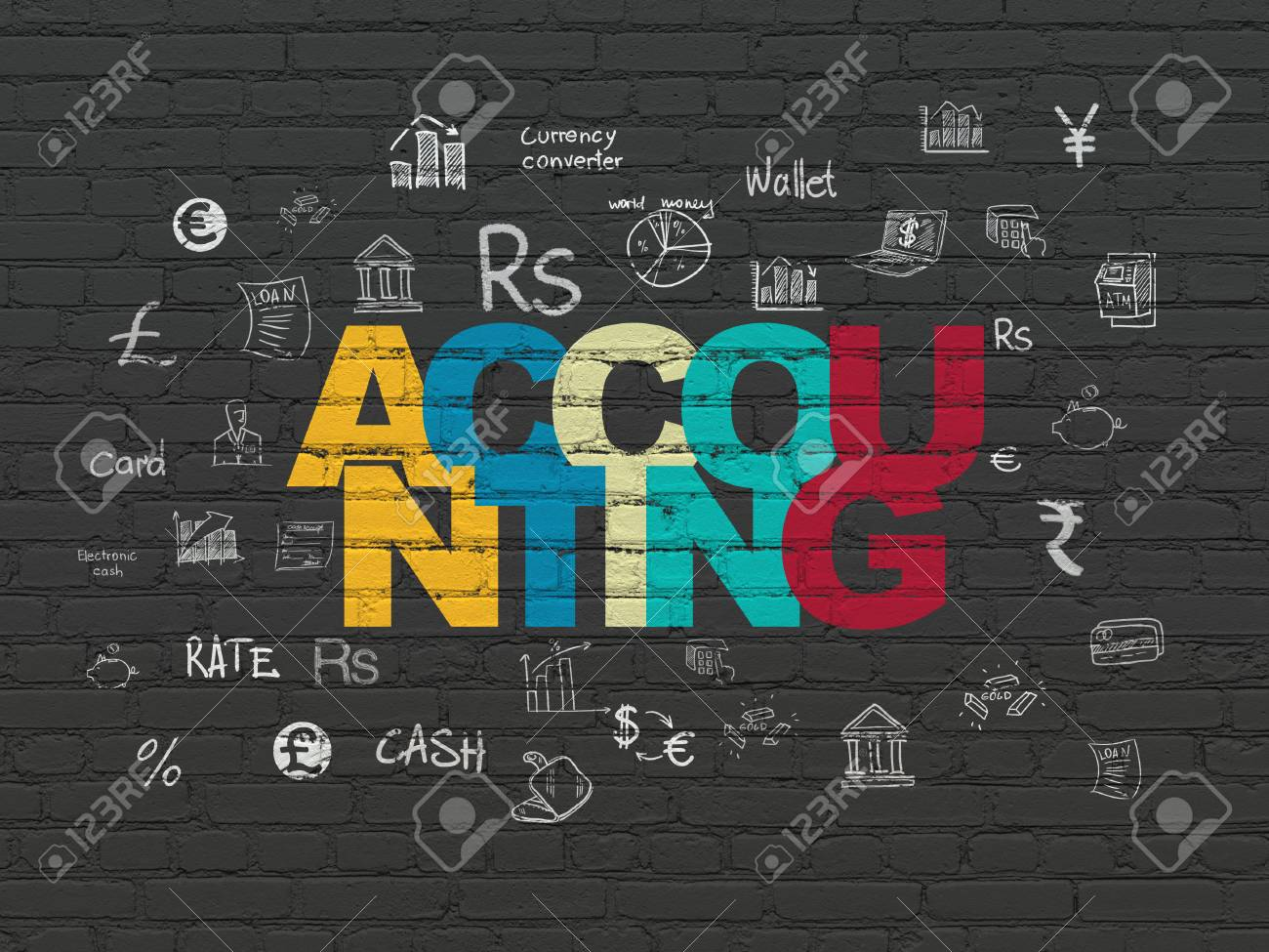Free Line Art Converter : Currency concept: painted multicolor text accounting on black
