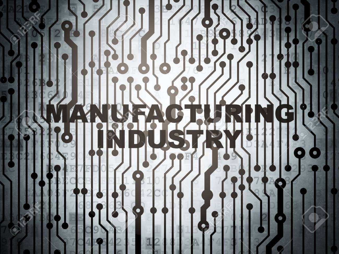 Industry concept: circuit board with word Manufacturing Industry,