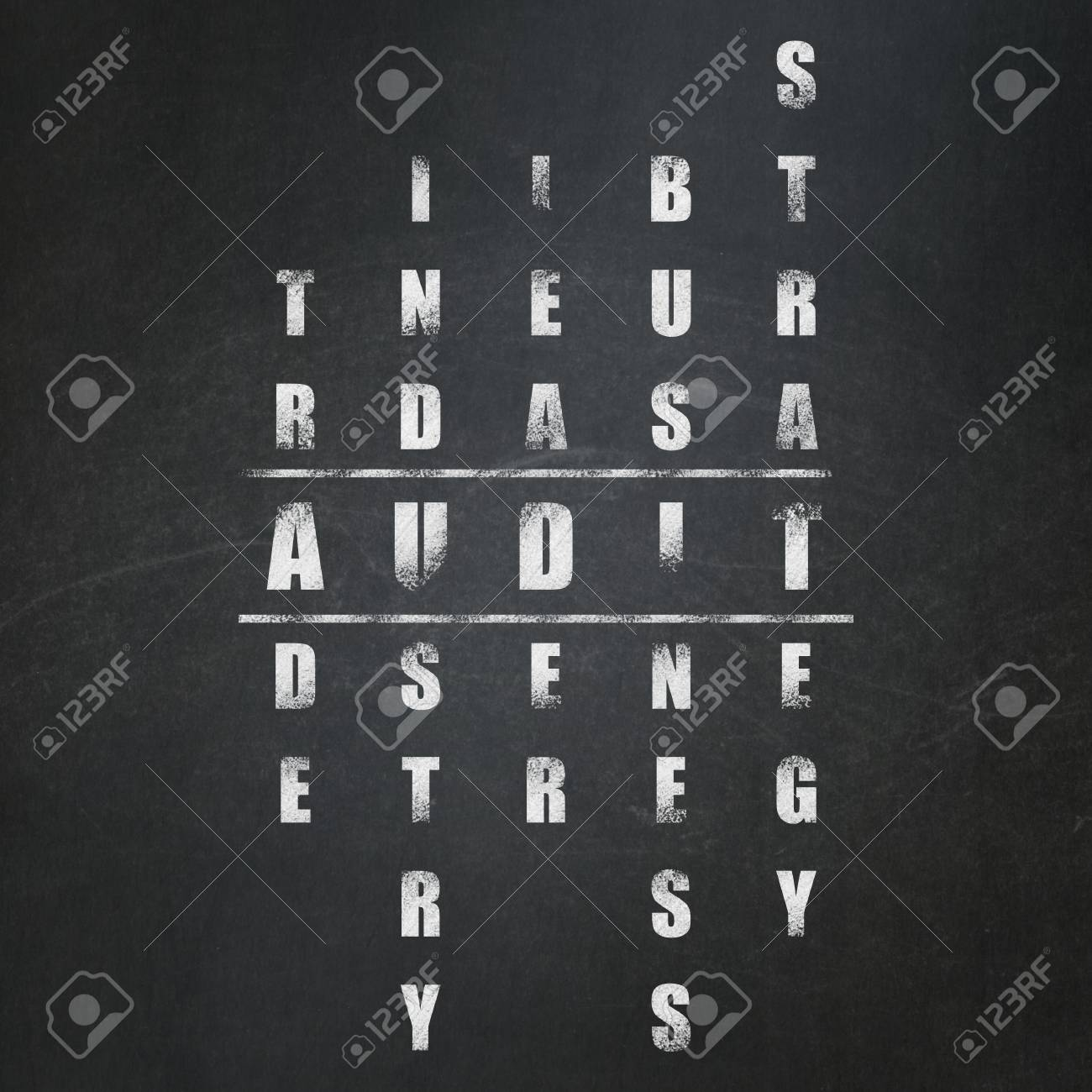Finance concept: Painted White word Audit in solving Crossword