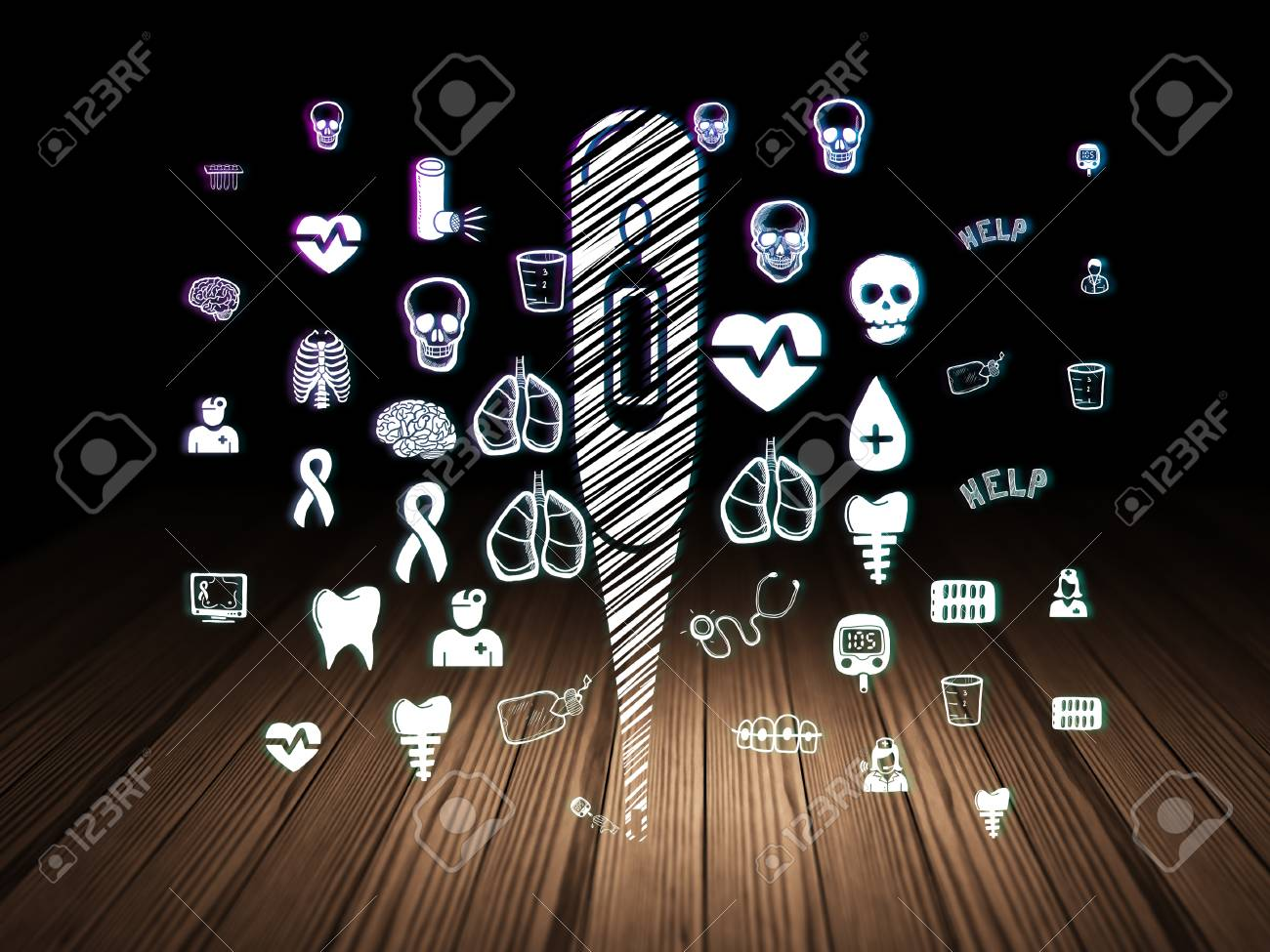 Gezondheidszorgconcept: gloeiend thermometelpictogram in grunge