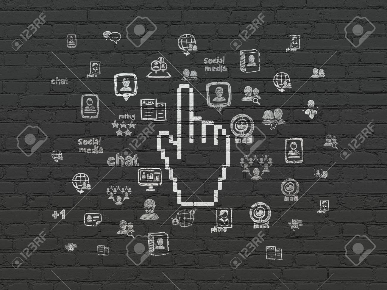 Social Media Concept Painted White Mouse Cursor Icon On Black
