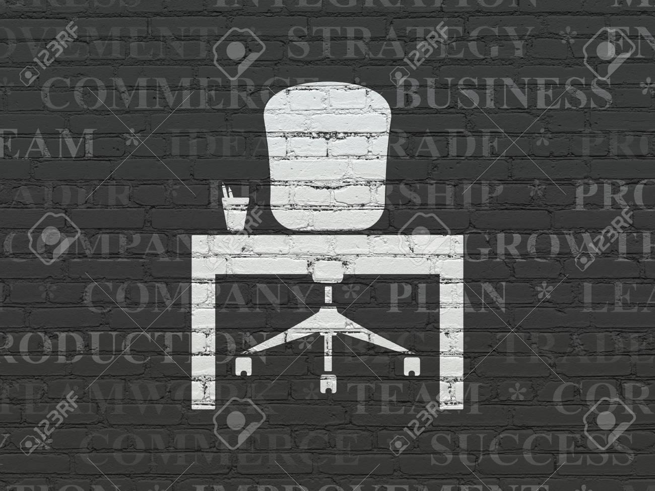 Concept finance peint blanc icône de bureau sur le noir mur de