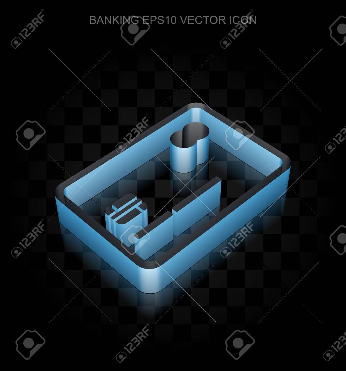 Carte Bleue Transparente.Icone De La Devise Carte De Credit 3d Bleue Faite De Ruban De