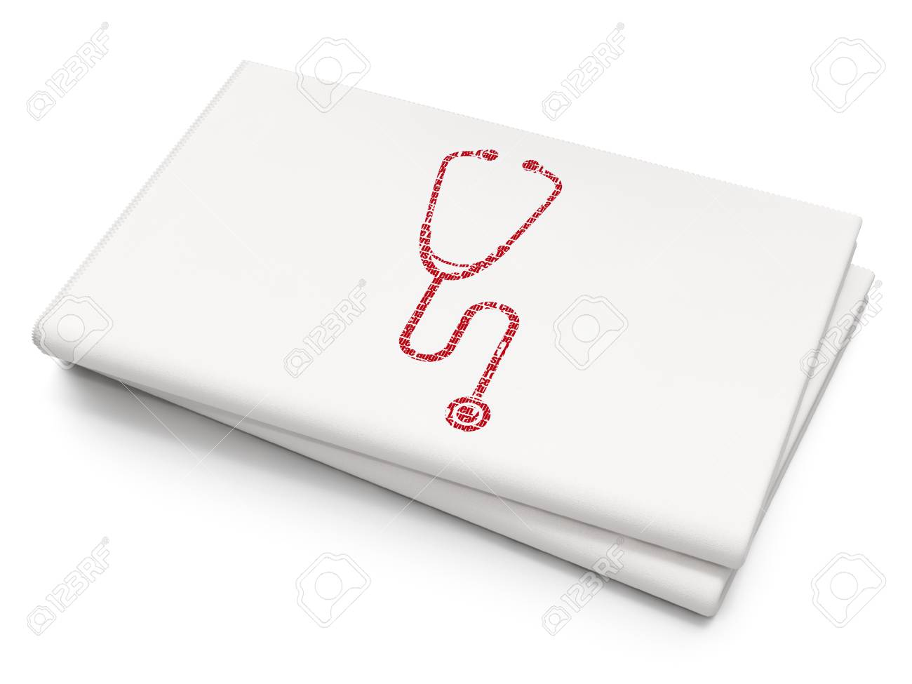 Healthcare Concept Pixelated Red Stethoscope Icon On Blank