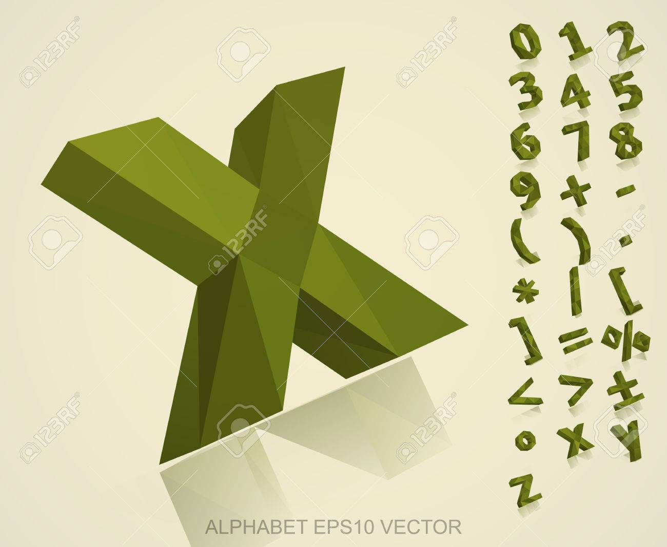 Set of khaki 3d polygonal numbers and mathematical symbols with set of khaki 3d polygonal numbers and mathematical symbols with reflection x stock vector biocorpaavc Image collections