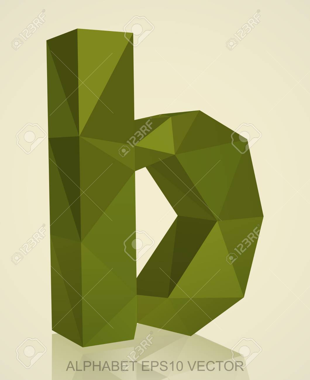 Abstract Khaki 3d Polygonal Lowercase Letter B With Reflection
