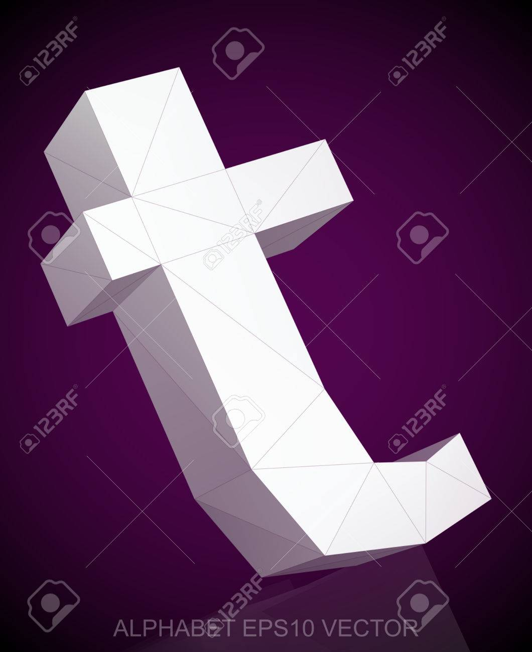 c0c96ed6b85d04 Abstract White 3D polygonal lowercase letter T with reflection. Low poly  alphabet collection. Stock