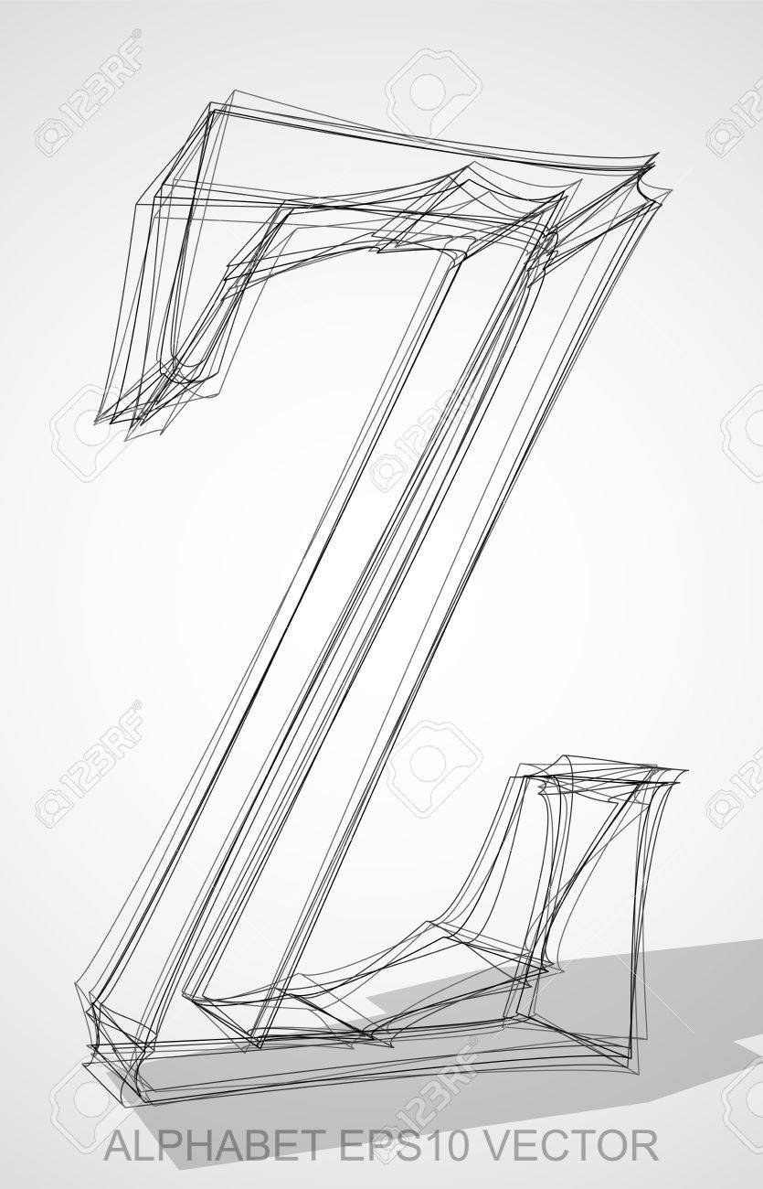 Abstract Illustration Of A Ink Sketched Uppercase Letter Z With