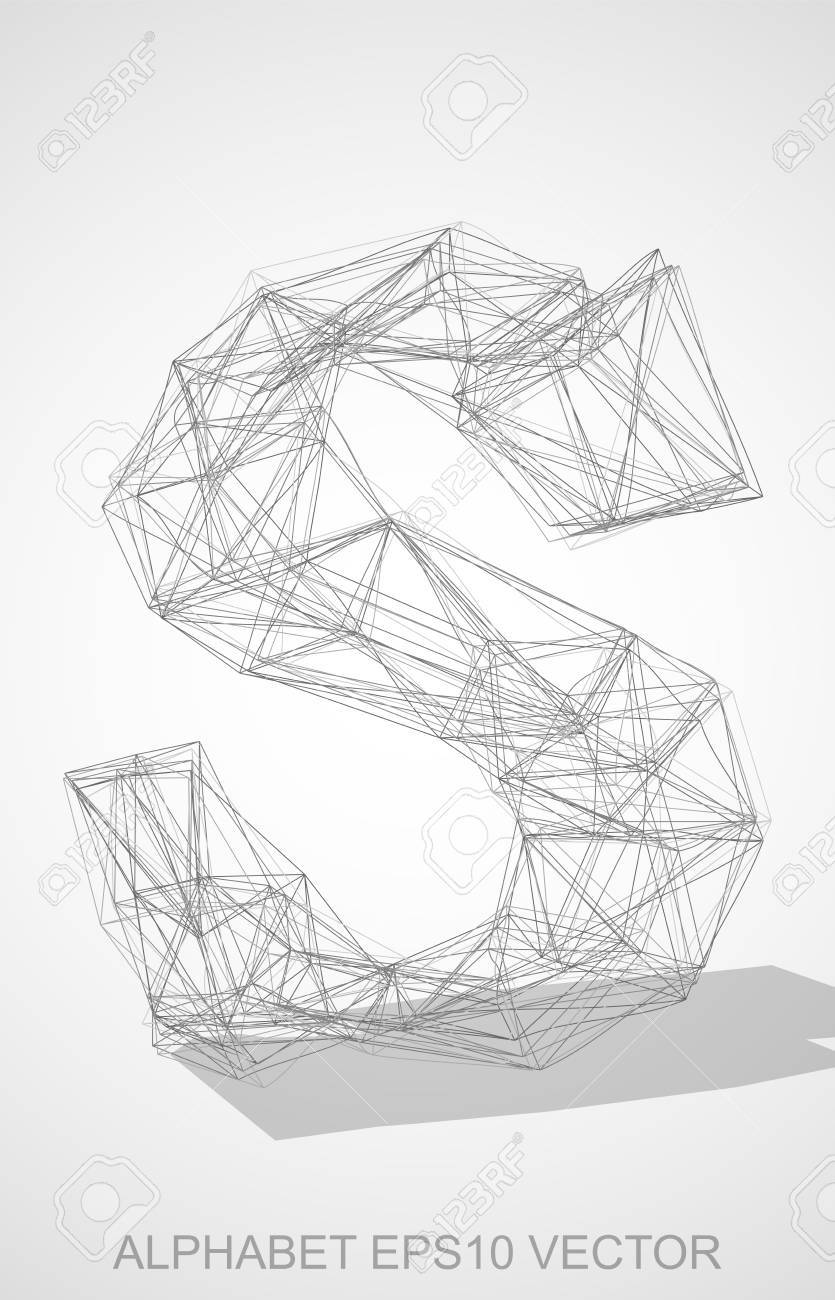 Abstract illustration of a pencil sketched lowercase letter s with transparent shadow hand drawn 3d