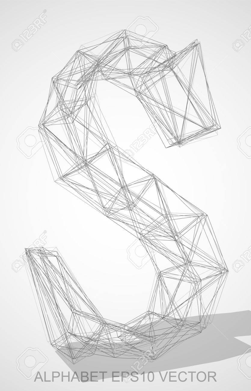 Abstract illustration of a pencil sketched uppercase letter s with transparent shadow hand drawn 3d