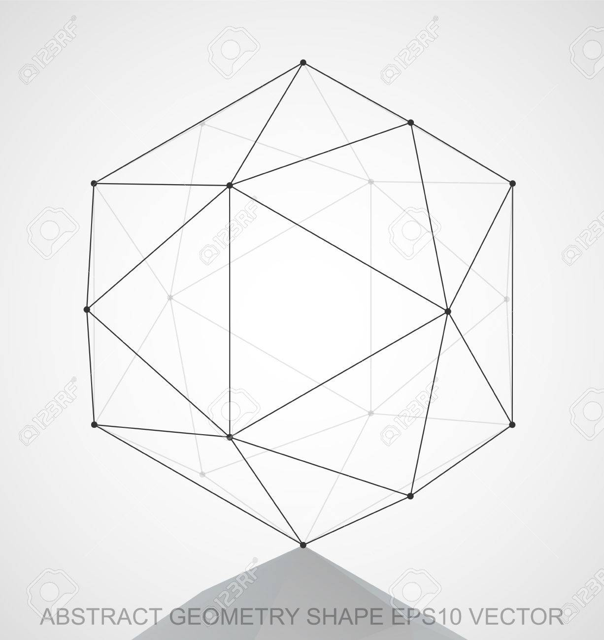 Abstract Geometry Shape Black Sketched Octahedron With Reflection Hand Drawn 3D Polygonal