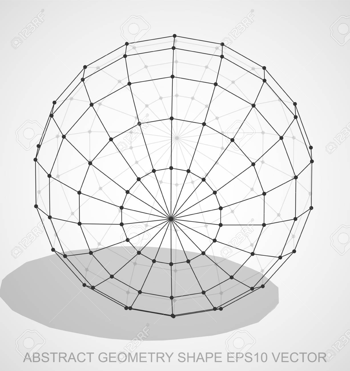 abstract geometry shape: black sketched sphere with transparent shadow   hand drawn 3d polygonal sphere