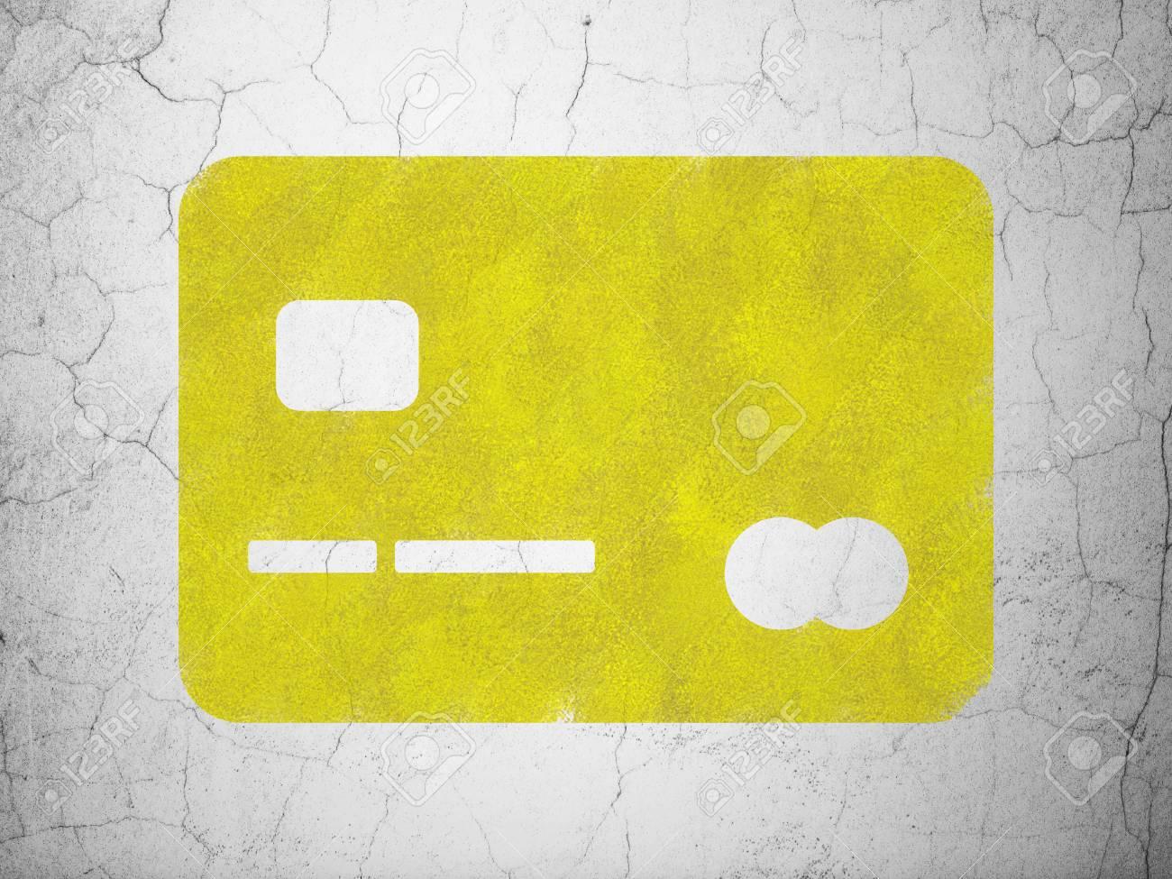 Carte Bancaire Jaune.Concept Bancaire Carte De Credit Jaune Sur Fond De Mur En Beton Texture