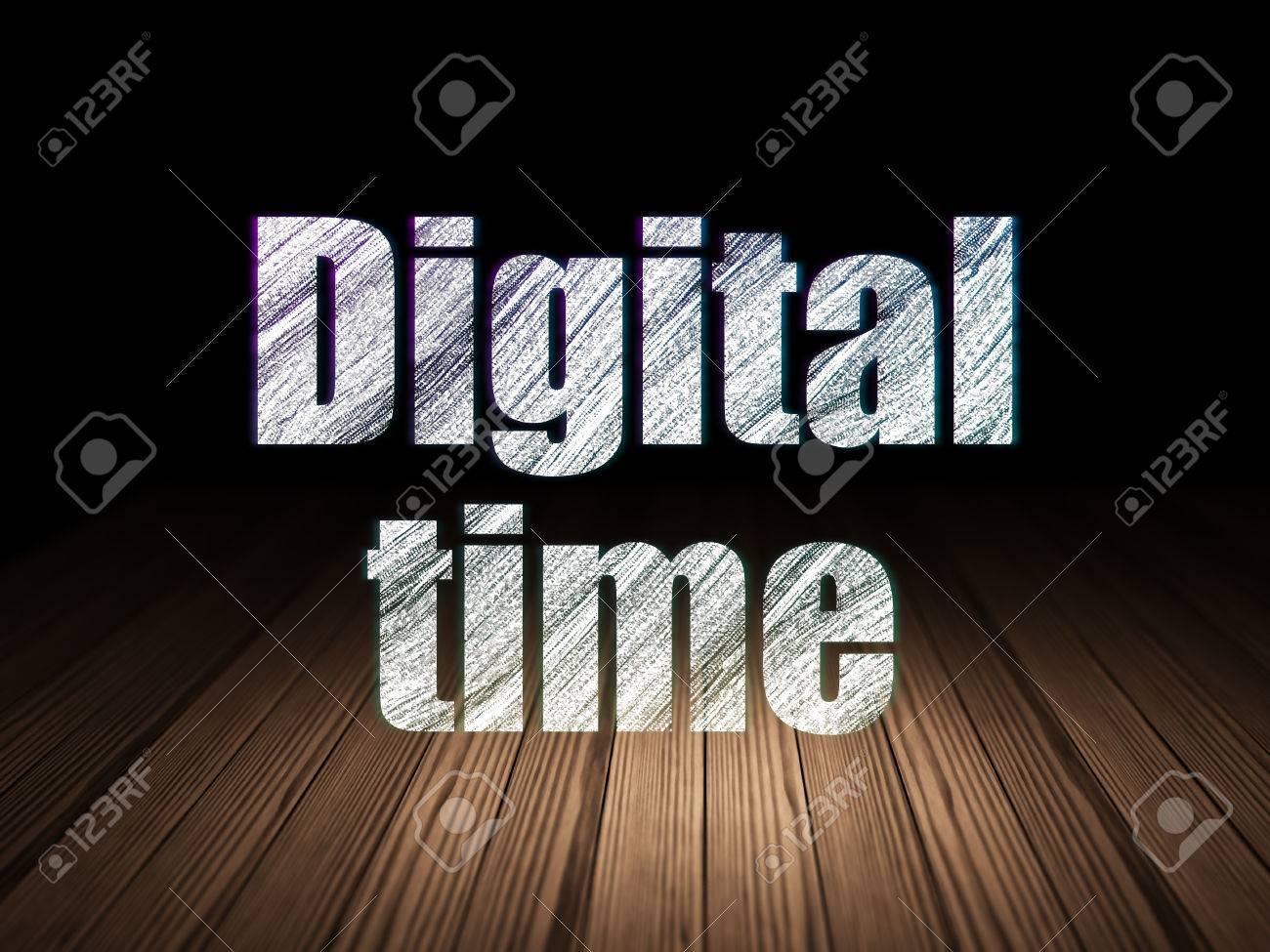 concept de temps: texte incandescent temps numérique dans la chambre