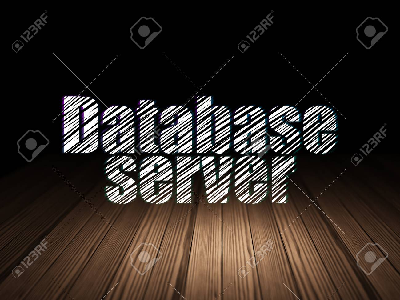 Concepto de programación: servidor de base de datos de texto brillante en  el cuarto oscuro de grunge con piso de madera, fondo negro