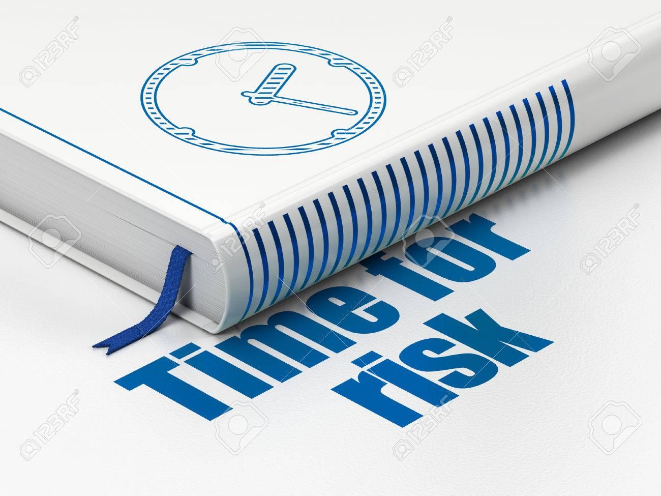 Zeit-Konzept: Geschlossenes Buch Mit Blue Clock-Symbol Und Text Zeit ...