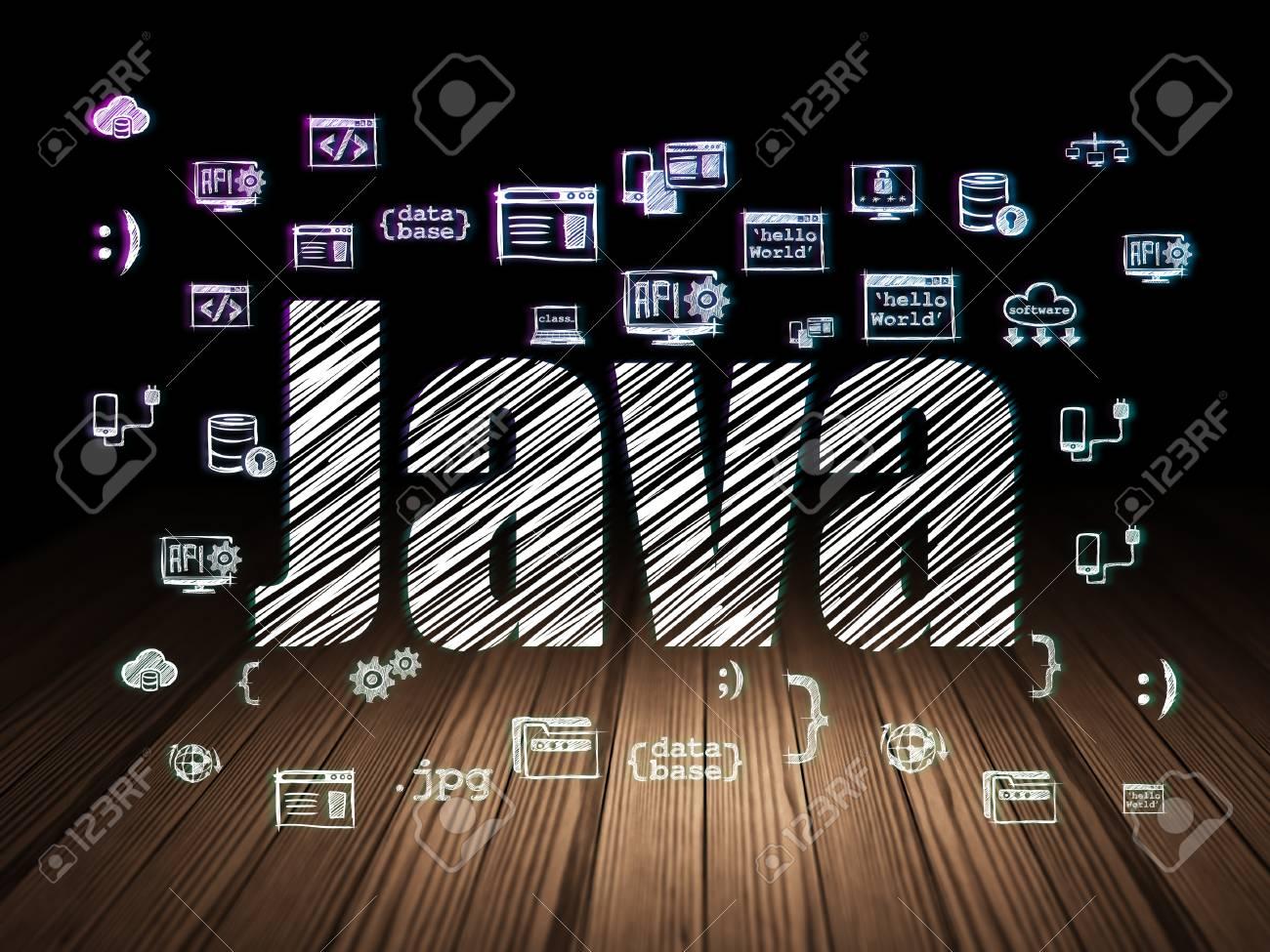 Concepto De Programación: Texto Brillante De Java, Iconos De ...